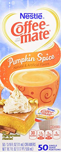 Nestle,Pumpkin Spice, Coffee-mate Liquid Coffee Creamer 50 CT Single Serving Tubs - Seasonal Flavor