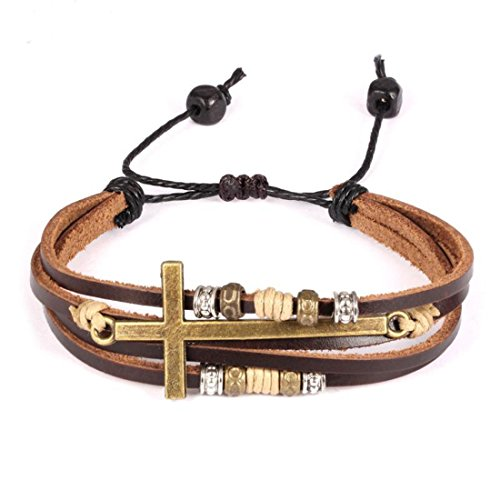 Feraco Jewelry Vintage Brown Gold Alloy Leather Bracelet Cross Religious Christian Multi Rope Wrap Bangle