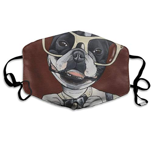 COMputer998 Dog Wearing Glasses and Glasses Face Mask Dust Mask Anti Pollution Unisex Mouth Mask,Washed Reusable Polyester Face Mask,Can Be Repeatedly Used