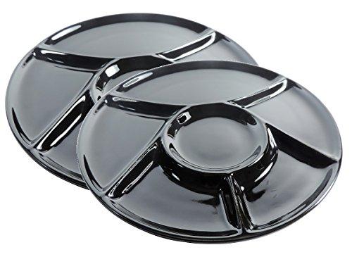 Viva-Haushaltswaren - 2 schwarze Fondueteller / Grillteller Ø 23,5 cm aus Porzellan