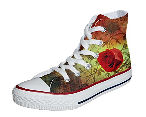 Converse All Star Hi Customized personalisierte Schuhe (Handwerk Schuhe) red rose