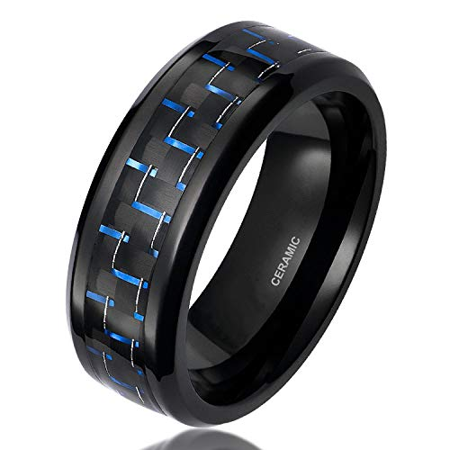 SOMEN TUNGSTEN 8mm Men's Black Ceramic Ring with Black Blue Carbon Fiber Inlay Comfort Fit Wedding Band Size 10.5