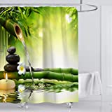ufengke Shower Curtain Green Bamboo Zen with 12 Hooks Fabric Curtain Polyester Waterproof for Bathroom,72' X 72'