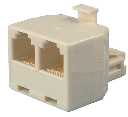 Allen Tel AT202-4 4 Conductor, 6 Position Plug with two 4 Conductor 6 Position Jacks T Adapter, Ivory
