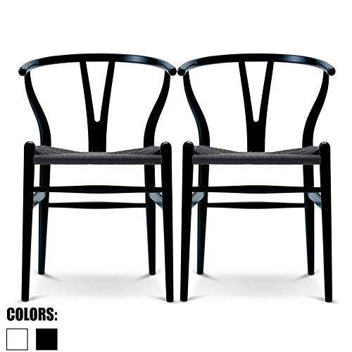2xhome Set of 2 Wishbone Wood Armchair with Arms Open Y Back Open Mid Century Modern Contemporary Office Chair Dining Chairs Woven Seat Brown Living Desk Office (Black ()