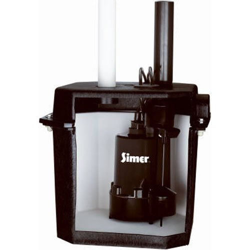 "Simer 2925B Self-Contained Above-Floor Corrosion-Resistant Sump/Laundry Sink Pump, 1/4 HP, 115V, 1-1/2"" Discharge Pipe, Handles Solids Upto 1/8"", 6 Gallon Drainage Tank, Black"