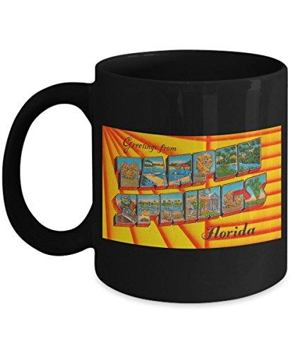 (Greetings from Tarpon Springs Florida, Vintage Large Letter Postcard Design: Black Ceramic Coffee Mug)