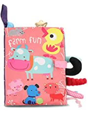 Taicanon Baby's First Soft Book, Nontoxic Fabric Baby Cloth Books with Rustling Sound for Newborns Infants Toddlers, Farm Style Soft Book