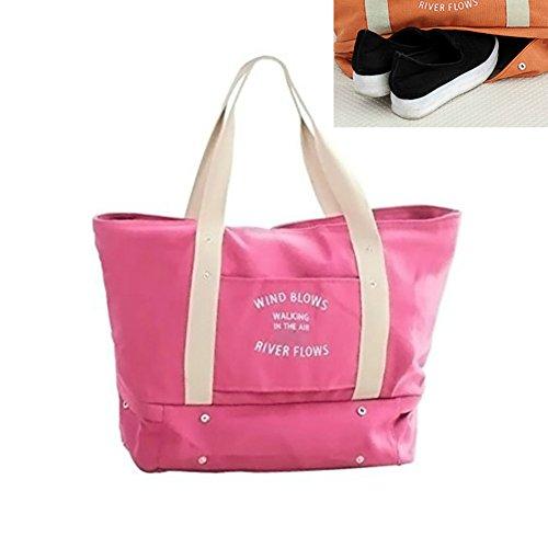 Rocoke Travel Duffel Luggage Bag Large Capacity Canvas Shoulder Handbag for Men Women (Pink)