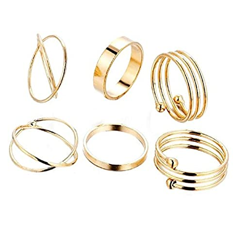 6PCS/Set Knuckle Rings; Mosunx Lady Ring Jewelry Finger Tip Stacking Rings (Gold)