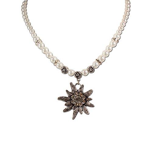 Bavarian Pearl Necklace Rhinestone Edelweiss (white) - Traditional German Dirndl, Lederhose Jewelry (German Dirndl)