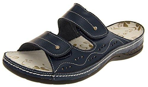 Funda de piel para mujer Velcro enfriadores de planas Sz y pedrería para mujer traje de neopreno para mujer zapatos de tamaño de la funda de 4 5 6 7 8 azul - azul marino