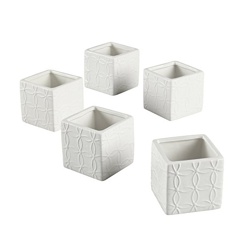 Ivy Lane Design Flourished Square Favor Flower Pot, White, Set of 5 -