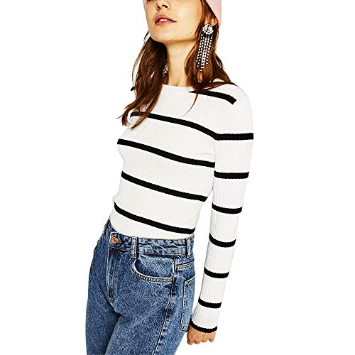Ribbed Sweaters Women Spring Cute Stripe White Black Thin Vintage Pullovers Tops (White Black, Large)