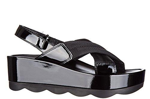 negro piel sandalias nuevo en mujer Prada ZwOXq7RZv