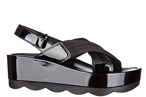 mujer Prada negro piel en nuevo sandalias Pn865