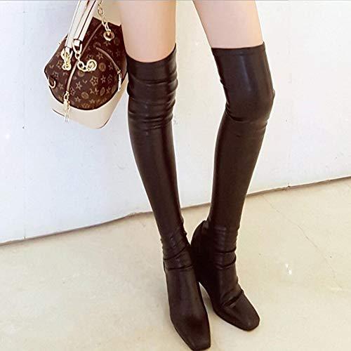 Fashion Slim Bar High 38 Night Un Club Il In Donna Winter colore Boots Da Dimensione Scarpe B Pelle Stivali Sopra Ginocchio Xyh wYaAx