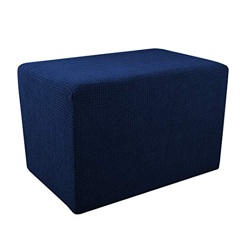(Freahap Ottoman Slipcover Jacquard Footstool Cover Elastic Bench Protector Stretch Knit Fabric Breathable Navy S 1Pc)