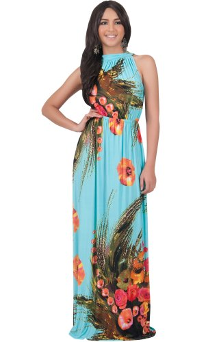 Blue Flowers Hawaiin (KOH KOH Womens Long Summer Flowy Sleeveless Gown Casual Floral Print Beach Hawaiin Sun Day Sexy Designer Modern Special Occasion Maxi Dress, Color Turquoise, Size Extra Large XL 14-16 (2))