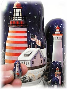 Lighthouses in the Night Russian Nesting Doll 7pc./8'' by Golden Cockerel (Image #3)