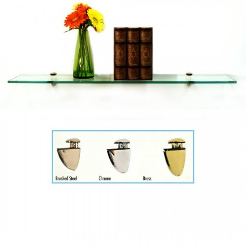 Bathroom Glass Shelf Finish (Floating Glass Bathroom Shelf Finish: Chrome, Size: 24