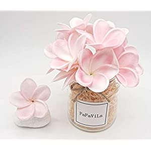 FaFaVila Bunch of 12 PU Real Touch Lifelike Artificial Plumeria Frangipani Flower Bouquets Wedding Home Party Decoration (Plumeria-12 pcs, White Pink)