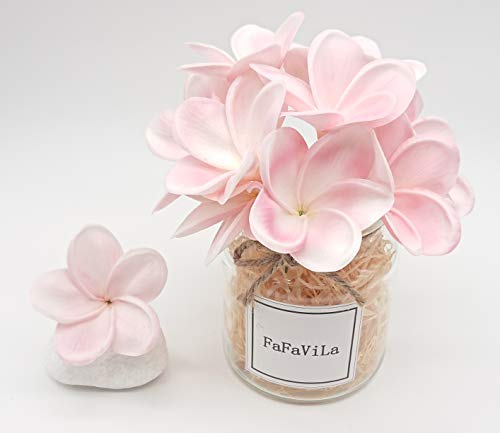 (FaFaVila Bunch of 12 PU Real Touch Lifelike Artificial Plumeria Frangipani Flower Bouquets Wedding Home Party Decoration (Plumeria-12 pcs, White Pink))