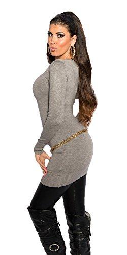 KouCla - Vestido - Básico - Manga Larga - para mujer gris