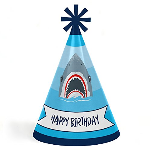 Shark Zone - Cone Jawsome Shark Happy Birthday Party Hats for Kids and Adults - Set of 8 (Standard Size)