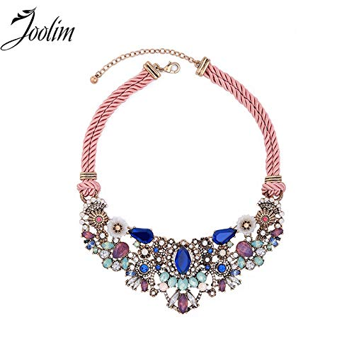 Jewelry Wow-Worthy Sweet Pink Cord Chain Feminine Floral Burst Statement Necklace Collares