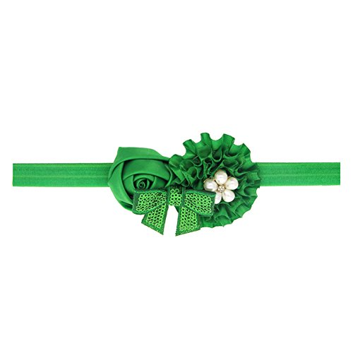 WLFY Baby Girls Headbands Grosgrain Ribbon Boutique Hair Bow (green) -