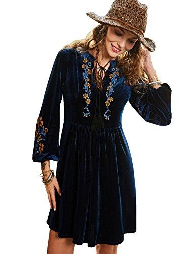 Bohoartist Autumn Royal Blue Long Sleeve Embroidery Lace up V Neck High Waisted Velvet Mini Dress (Embroidery Mini Dress)