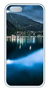 iPhone 5s Case Cover - Geiranger At Night Custom TPU Rubber Silicone Case for iPhone 5S and iPhone 5 - White