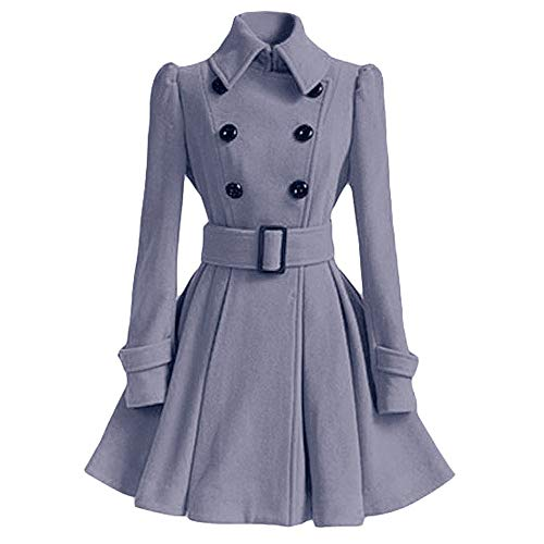 (POTO Pea Coats for Women, Ladies Swing Double Breasted Wool Pea Coat with Belt Mid-Long Lapel Dresses Outwear)