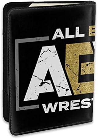 AEW All Elite Wrestling AEWレスリング パスポートケース メンズ 男女兼用 パスポートカバー パスポート用カバー パスポートバッグ ポーチ 6.5インチ高級PUレザー 三つのカードケース 家族 国内海外旅行用品 多機能