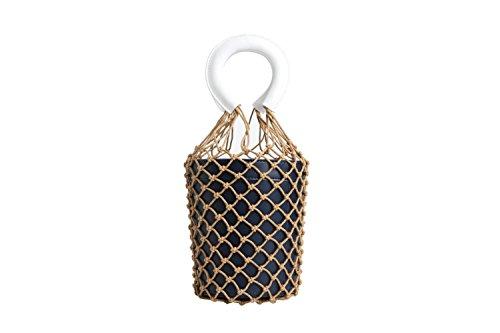 Bridal Retro Fashion MYLL Bag Net Woven Leather Fishing Blue Bag Bucket Bag Women's qAqrSxv