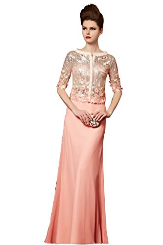 Little Smily Women's Sequin Two Piece Formal Evening Dress with Half Sleeve Jacket, Pink, XL by Little Smily