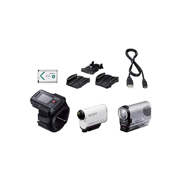 Sony Action Cam HDR-AS200 – Videocámara deportiva (Full HD, resistente a salpicaduras con WI-FI, NFC, GPS), blanca