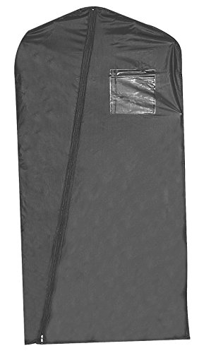 Econoco 46/TUX Vinyl Taffeta Finish Cover with Window/Card Pocket and Diagonal Zipper, 3.75 gauge, 24'' x 46'', Black with Black Trim (Pack of 100) by Econoco (Image #1)