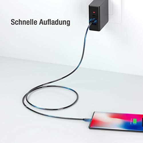 POWERADD USB Type-C Kabel Nylon Ladekabel und Datenkabel 4 Stück 0.5M 1M 2M 3M USB C Sync Schnellladekabel für Samsung Galaxy S10/S9/S8+, Huawei P30/P20, HTC 10, LG G5/G6 usw (Grau)