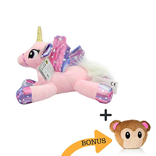 Magic Sparkle Unicorn Plushy Toy for Girls | Pink Magical Stuffed Horse for Your Little Ones / Birthdays | Free Bonus - Free Large Emoji Pillow | Colorful, Squish, Rainbow Cute