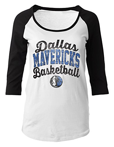 NBA Dallas Mavericks Women's 100% Cotton Baby Jersey 3/4 Sleeve Scoop Neck Tee, Large, Black