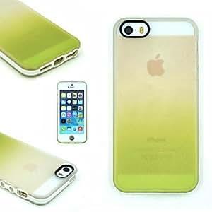 GDW TPU + pc dos en un gradiente de transparente / amarillo caso de la contraportada para el iphone 5 / 5s