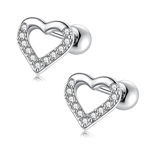 1 Pair 18G Lovely Heart Cubic Zirconia Stainless Steel Stud Earrings Cartilage Ear Helix Piercings Women Girls (White)
