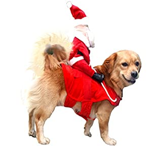 NACOCO Christmas Dog Costumes Santa Claus Riding on Dog Pet Cat Suit (L)