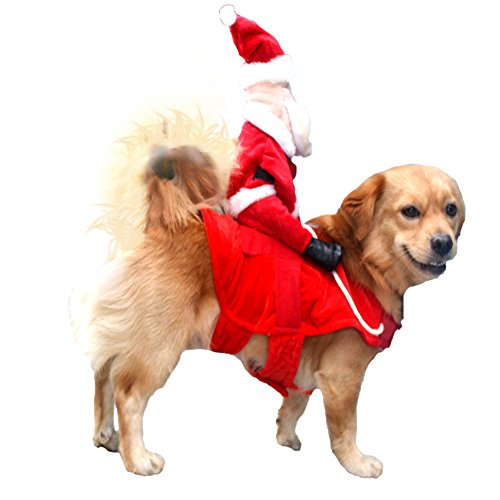 NACOCO Christmas Dog Costumes Santa Clause Riding on Dog Pet Cat Suit -