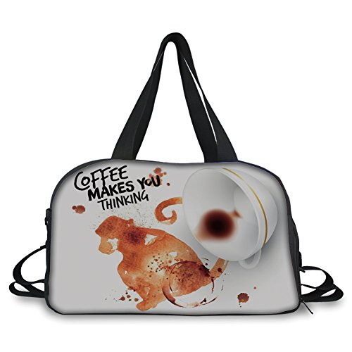 (iPrint Travel Handbag,Coffee Art,Thinking Monkey Animal with Fun Lettering and Inverted Coffee Cup Decorative,Burnt Sienna Black White ,Personalized)