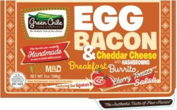 Green Chile Breakfast Burrito, Egg & Bacon & Cheese w/ Hashbrowns, 7 oz., (12 count)