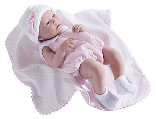 "JC Toys La Newborn - Realistic 17"" Anatomically Correct ""REAL GIRL"" Baby Doll - All Vinyl in Pink Bubble Suit and Blanket Designed by Berenguer Boutique - Made in Spain"