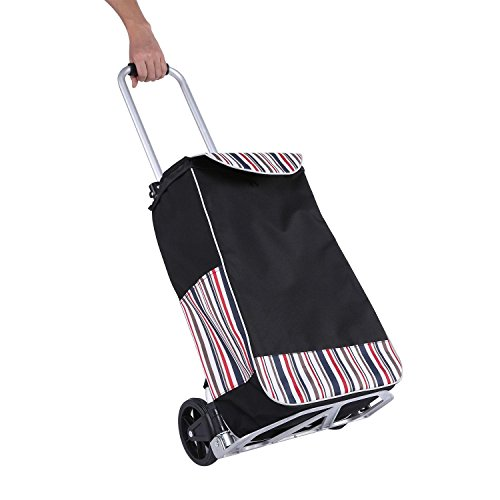 Elever Folding Shopping Cart with Wheels, Stair Climbing Cart Grocery Laundry Utility Cart with Big Bag for Home Travel by Elever